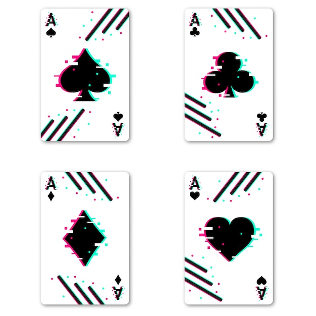 Set of four aces deck of cards Premium Vector