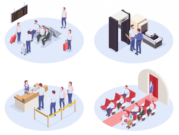 Set of four airport isometric compositions with lounge registration desk security check and inboard interior images vector illustration Free Vector