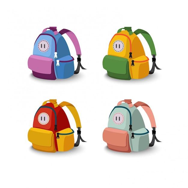 Set of four  bag school Premium Vector