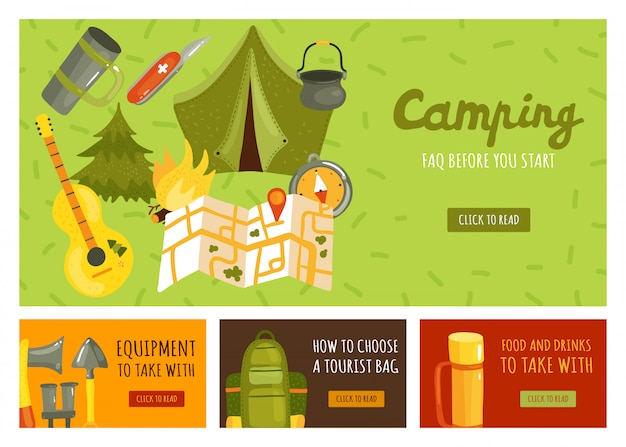 Set of four banners with necessary equipment for camping Free Vector