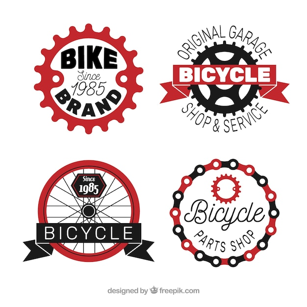 Set of four bicycle logos Free Vector