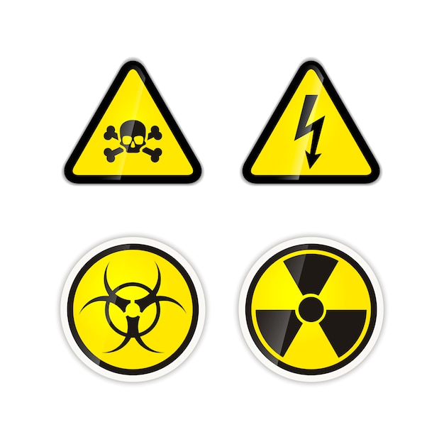 Set of four bright warnings signs for high voltage, radiation, biohazard and poison isolated Premium Vector