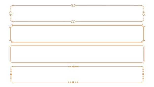 Set di quattro cornici rettangolari decorative classiche Vettore gratuito