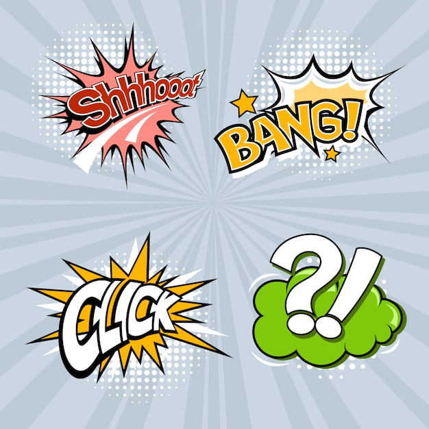 Set of four colored speech bubbles on a gray background. Premium Vector