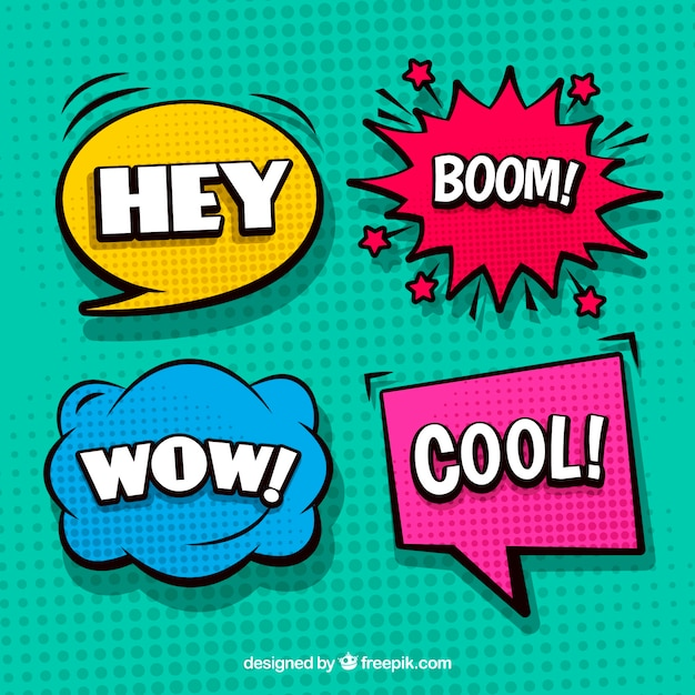 Set of four colorful comic speech bubbles Free Vector