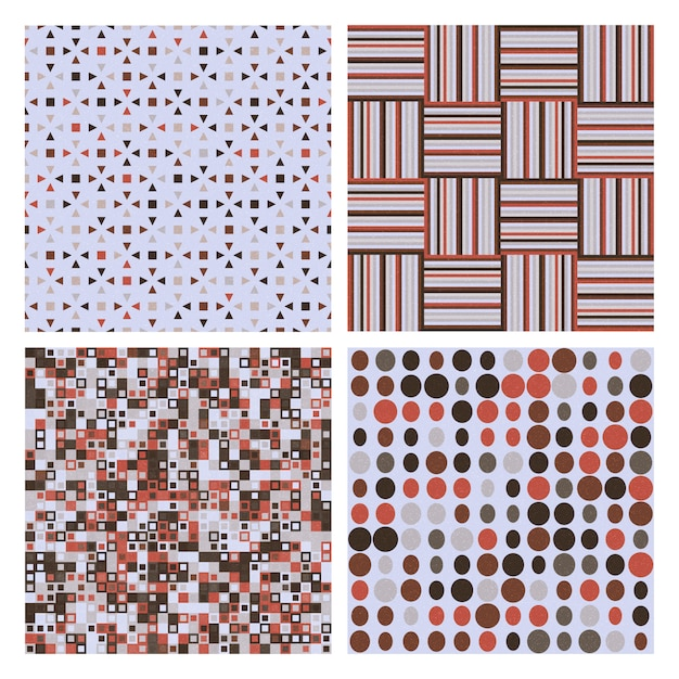 Set of four decorative retro seamless patterns. vector seamless texture for wallpapers, pattern fills Premium Vector