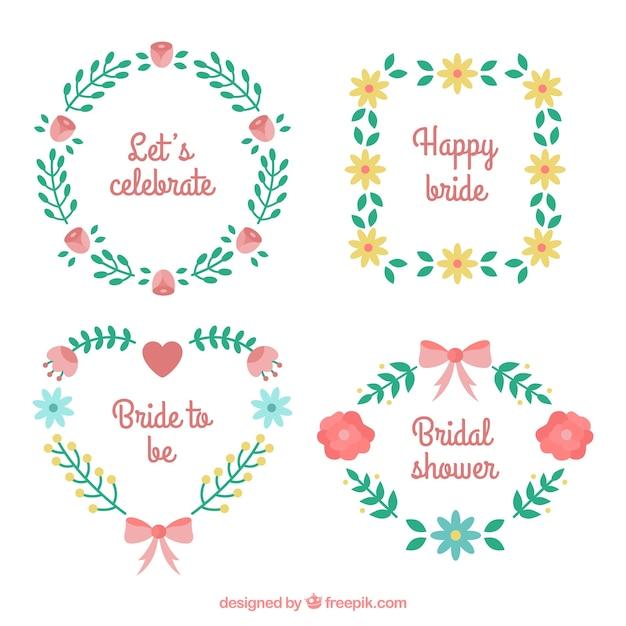 Free Vector Set Of Four Floral Wedding Frames In Flat Design