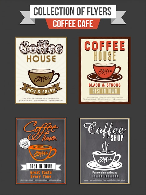 Set of four flyers or templates design for coffee shop Free Vector