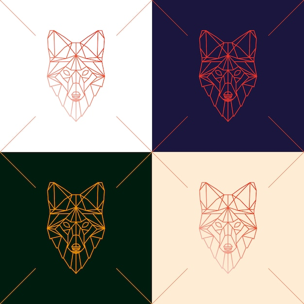 Set of four fox head geometric silhouette. Premium Vector