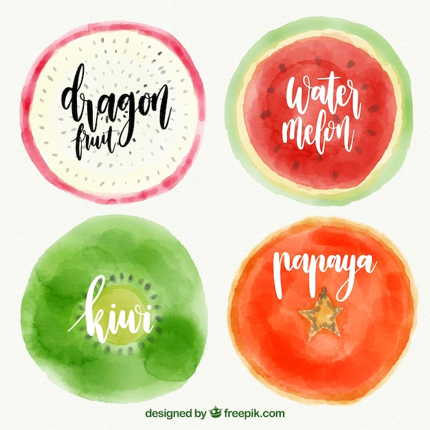 Set of four fruits painted with watercolor Free Vector