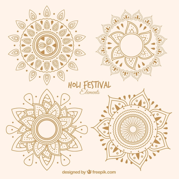 Set of four hand drawn mandalas Free Vector