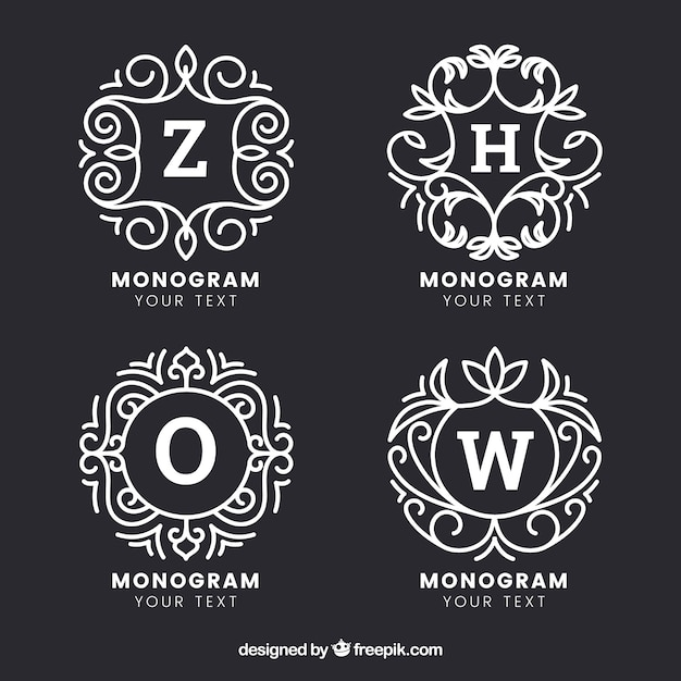 Set of four hand drawn monograms Free Vector