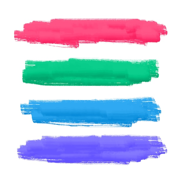Set of four hand painted brush stroke Free Vector
