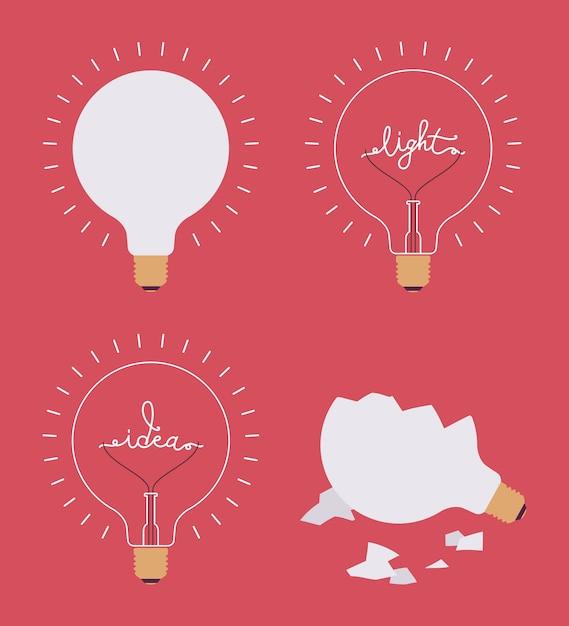Set of four light bulbs Premium Vector