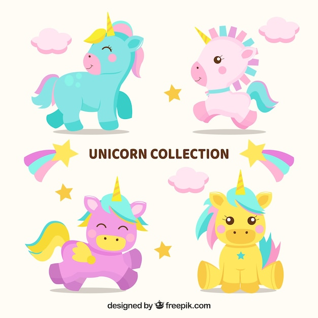 Set of four lovely baby unicorns Free Vector