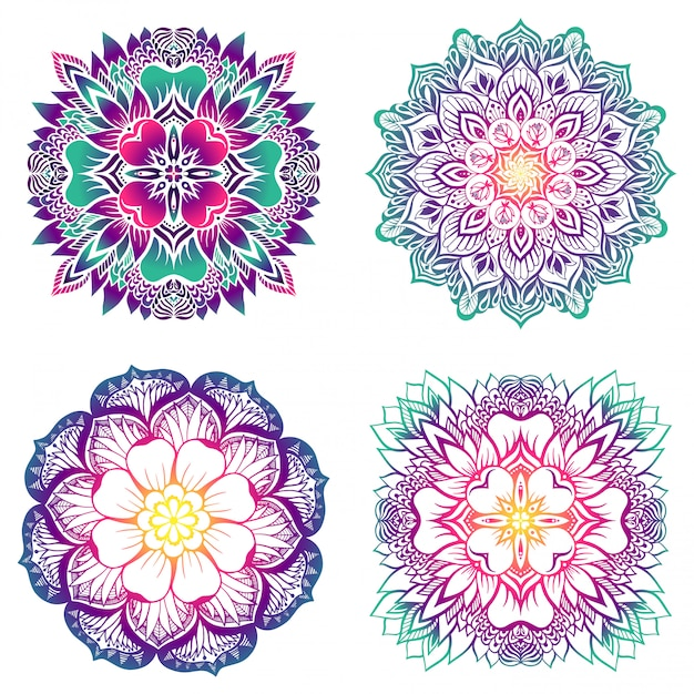 A set of four mandalas with a gradient fill. Premium Vector