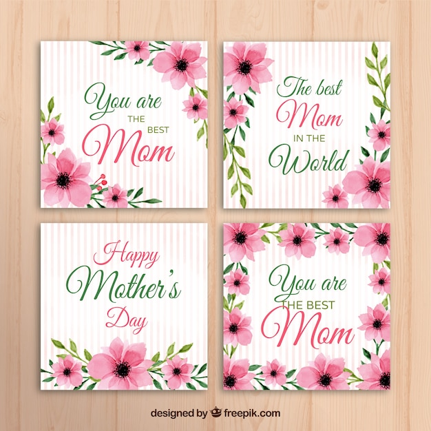 Set Of Four Mothers Day Greeting Card With Pink Flowers Vector