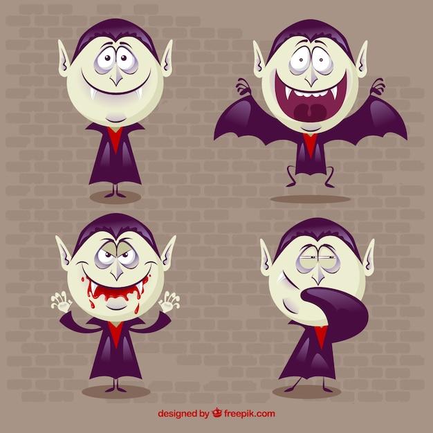 Set di quattro simpatici vampiri Vettore gratuito
