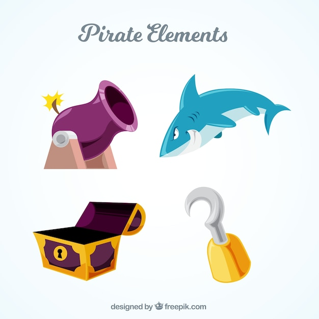 Set of four pirate items Free Vector