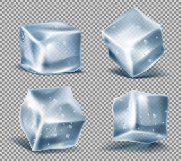 Set of four realistic blue ice cubes with water drops, cold, frozen blocks Free Vector