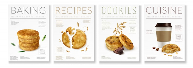 Set of four realistic posters on theme of oat cookies with captions baking recipes cookies and cuisine  illustration Free Vector