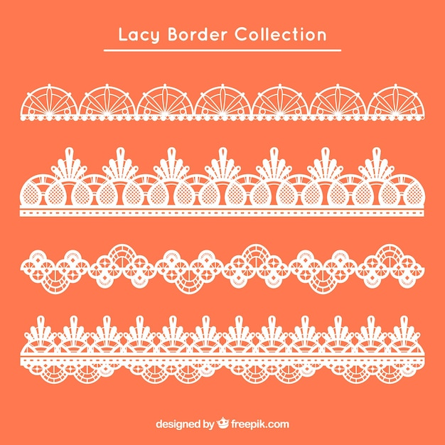 Set of four retro lace borders Free Vector