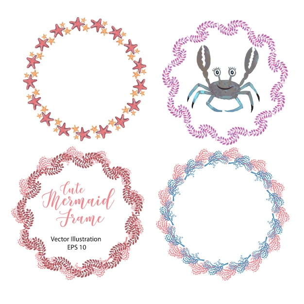 Set of four round frames with sea shellfish painted in watercolor. Premium Vector
