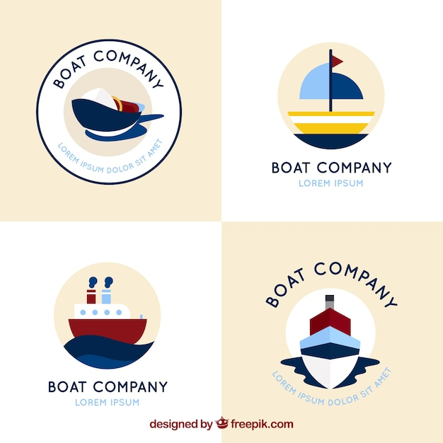 Set of four round logos with flat boats Free Vector