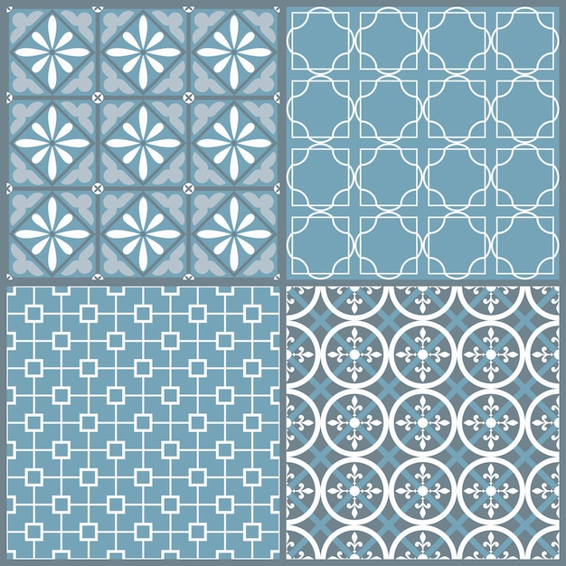 Set of four seamless geometric pattern Premium Vector