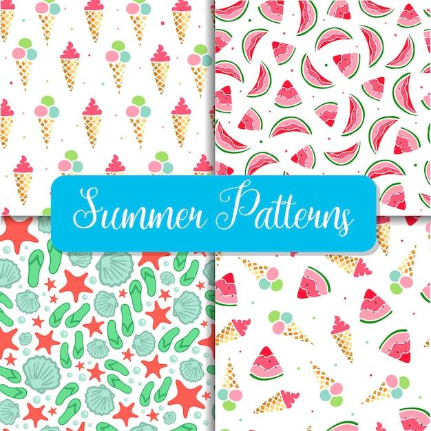 Set of four seamless summer patterns Premium Vector