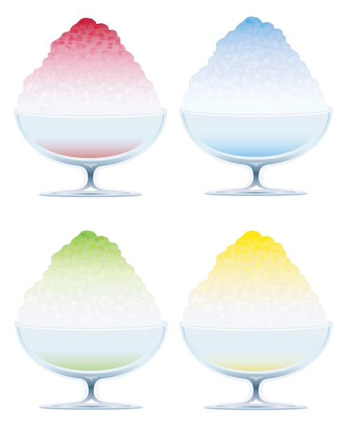 Set di quattro ghiaccio tritato isolato su uno sfondo bianco, illustrazione. Vettore gratuito