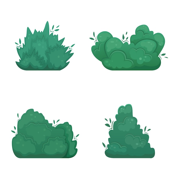 Set of four   shrubs in cartoon style. a set for creating your own . Premium Vector