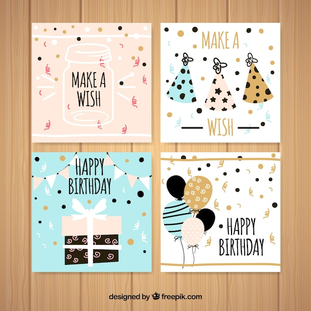 Set of four square birthday cards in flat design Free Vector