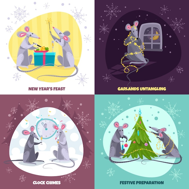 Set of four square story illustrations with cartoon characters rats mice Premium Vector