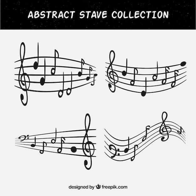 Set di quattro bastoncini con note musicali Vettore gratuito