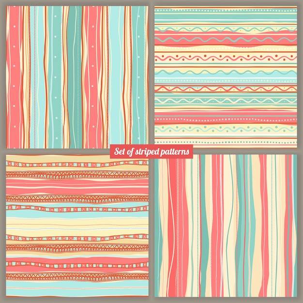 Set of four striped colored backgrounds Premium Vector