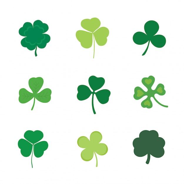 Set of four and three leaf clover Premium Vector