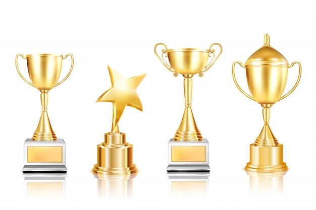Set of four trophy award realistic images with cups on pedestals with reflections on blank background Free Vector