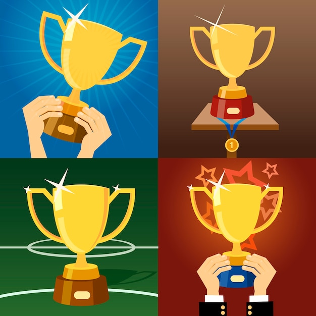 Set of four vector gold trophies or cups Free Vector