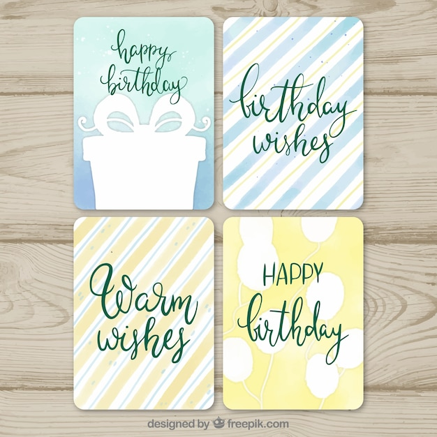 Set of four watercolour birthday cards Free Vector