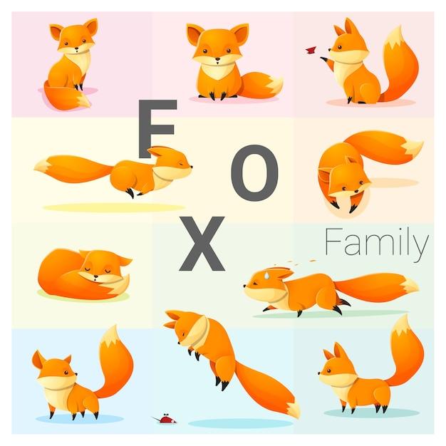 Set of fox family Premium Vector