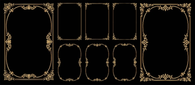 Set of frames and borders on black bacground, gold photo frame with corner Premium Vector