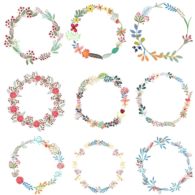 Set of frames from wreath Free Vector