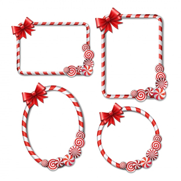 Set of frames made of candy cane, with red and white candies and red bow Premium Vector