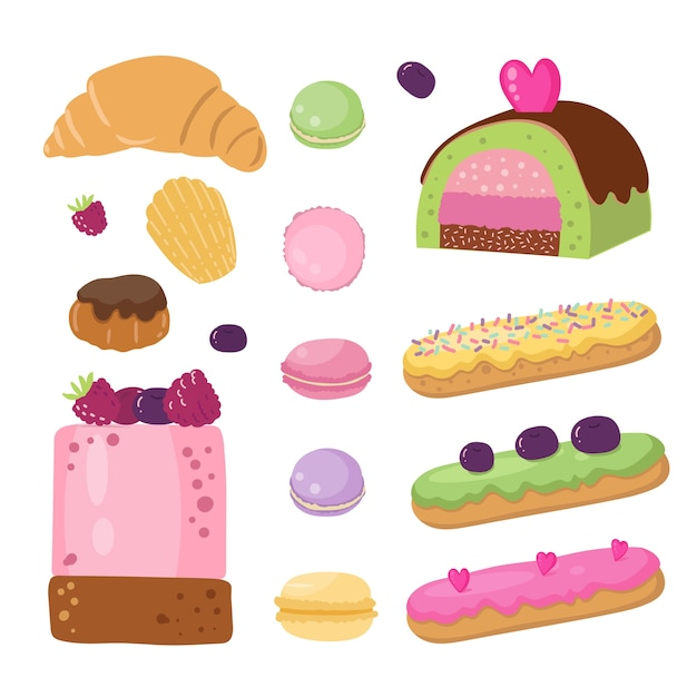Set of french desserts Premium Vector