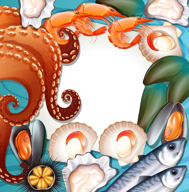 Set of fresh seafood Free Vector