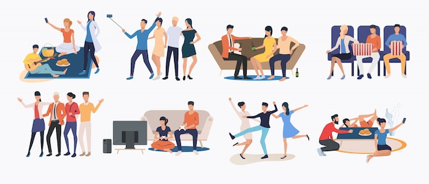 Set of friends spending time together Free Vector
