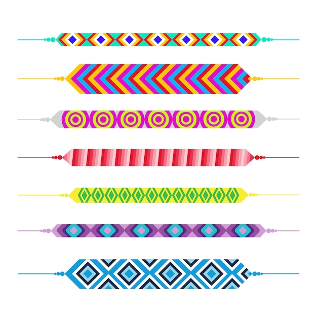 Set of friendship bracelets happy friends day greeting card holiday banner Premium Vector