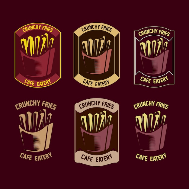Set of fries logo Premium Vector