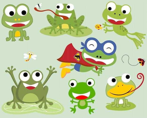 Set of frogs cartoon Premium Vector